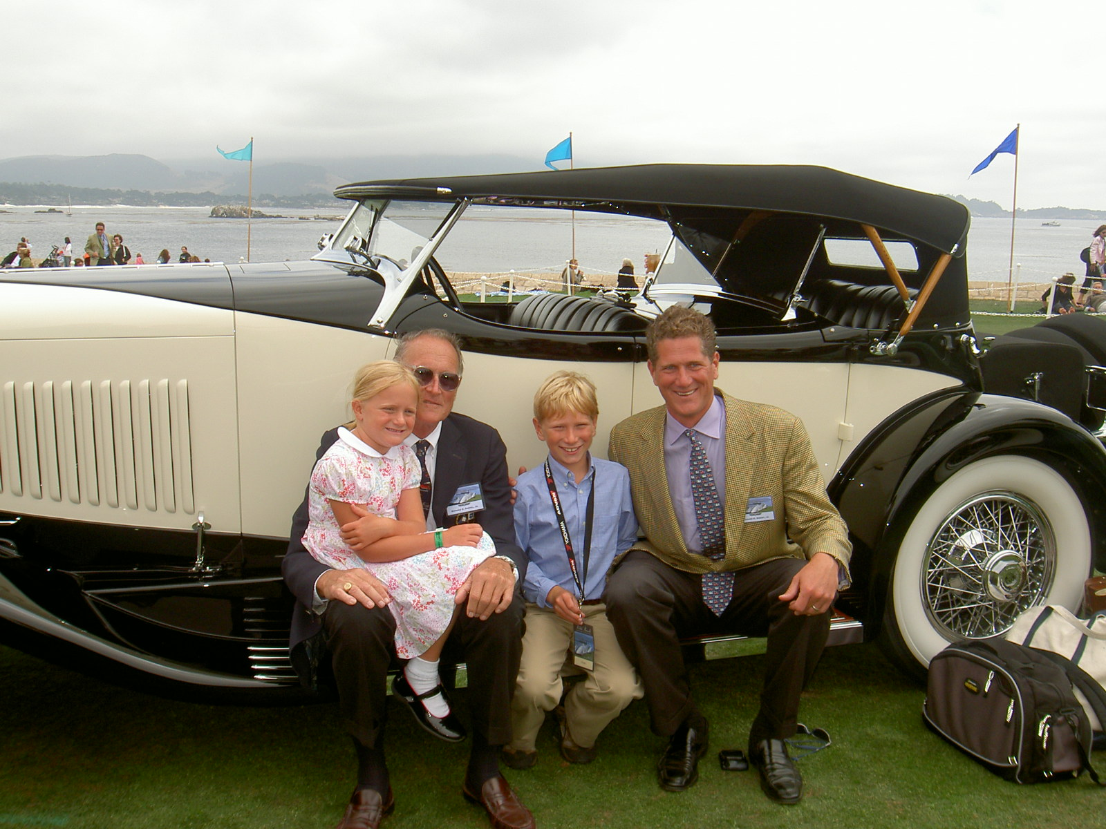 Riegel Family poses with their 1931 duPont Model H Sport Phaeton.